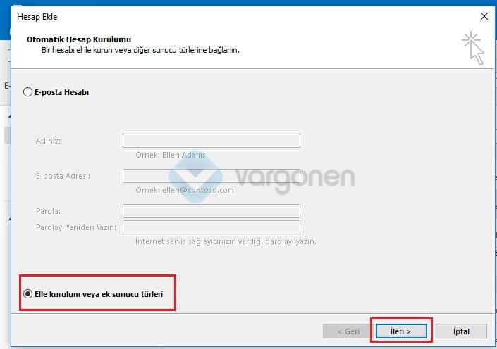 Outlook POP3 e-posta kurulumu Hesap Ekleme