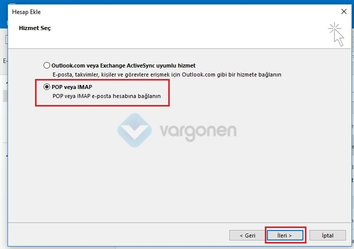 Outlook E-Posta Kurulumu Pop3 ve IMAP Ayarları