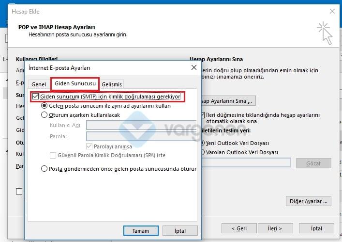 Outlook E-Posta Kurulumu Giden Sunucu Ayarları