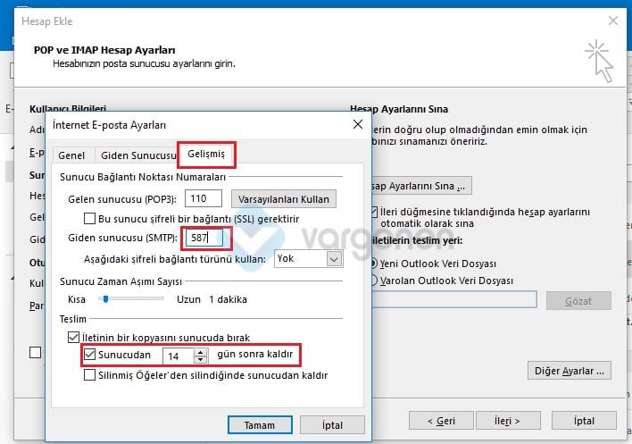 Outlook E-Posta Kurulumu Gelişmiş Ayarlar