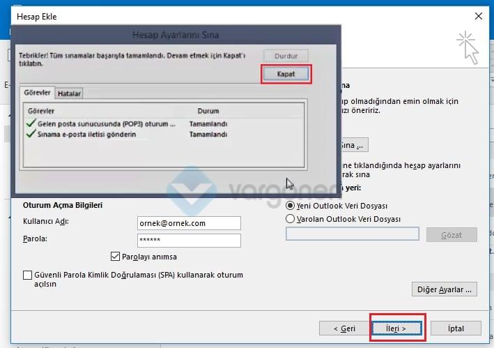 Outlook E-Posta Kurulumu Mail Gönder Testi Nasıl Yapılır