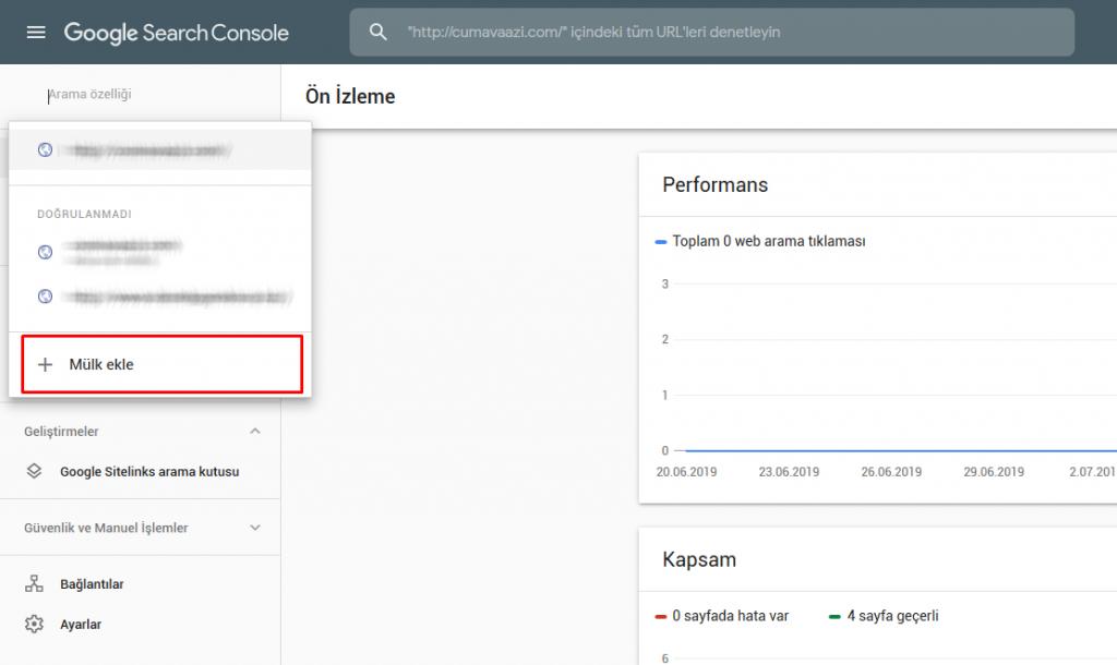Google Search Console Site Ekleme