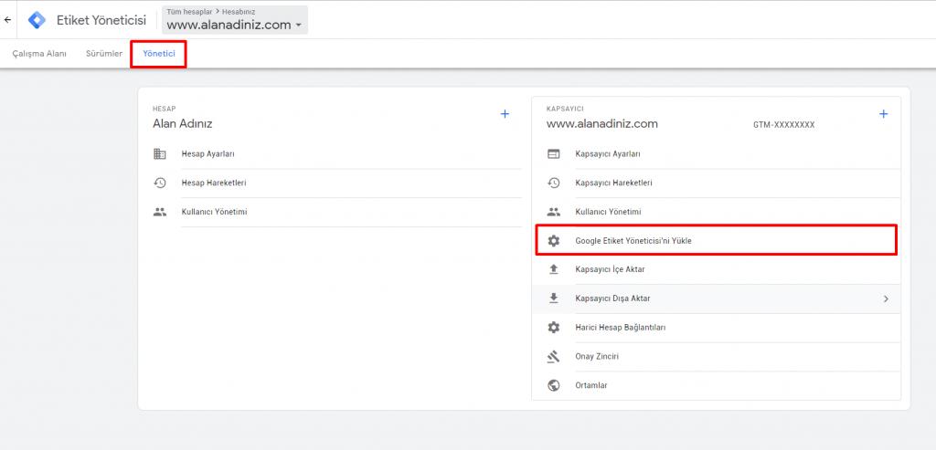 google tag manager kurulumu