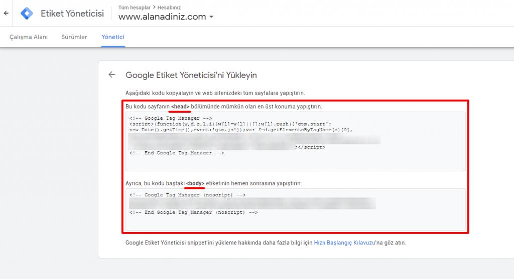google tag manager kodlarının eklenmesi