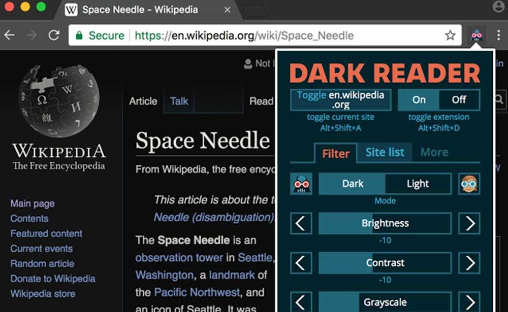 Dark-Reader-chrome-eklentisi